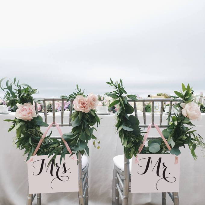 Mr and Mrs Wedding Chair Signs - Reception | Emmaline Bride