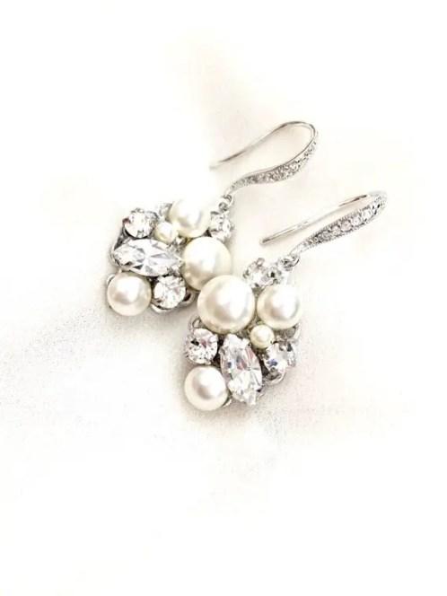 pearl cluster chandelier bridal earrings