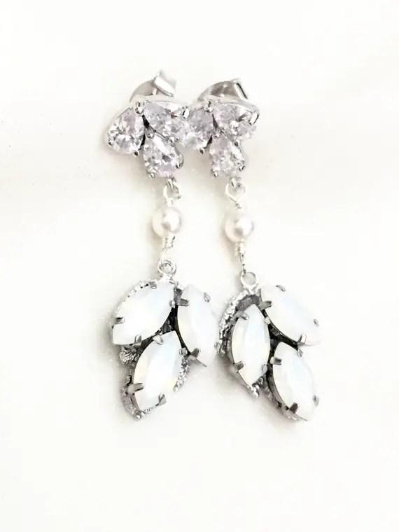 white opal bridal earrings chandelier style