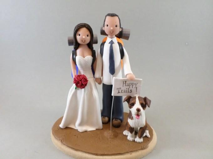Hiking Couple Wedding Cake Topper