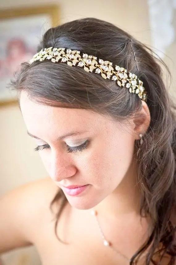 Crystal Bridal Headband with Ribbon