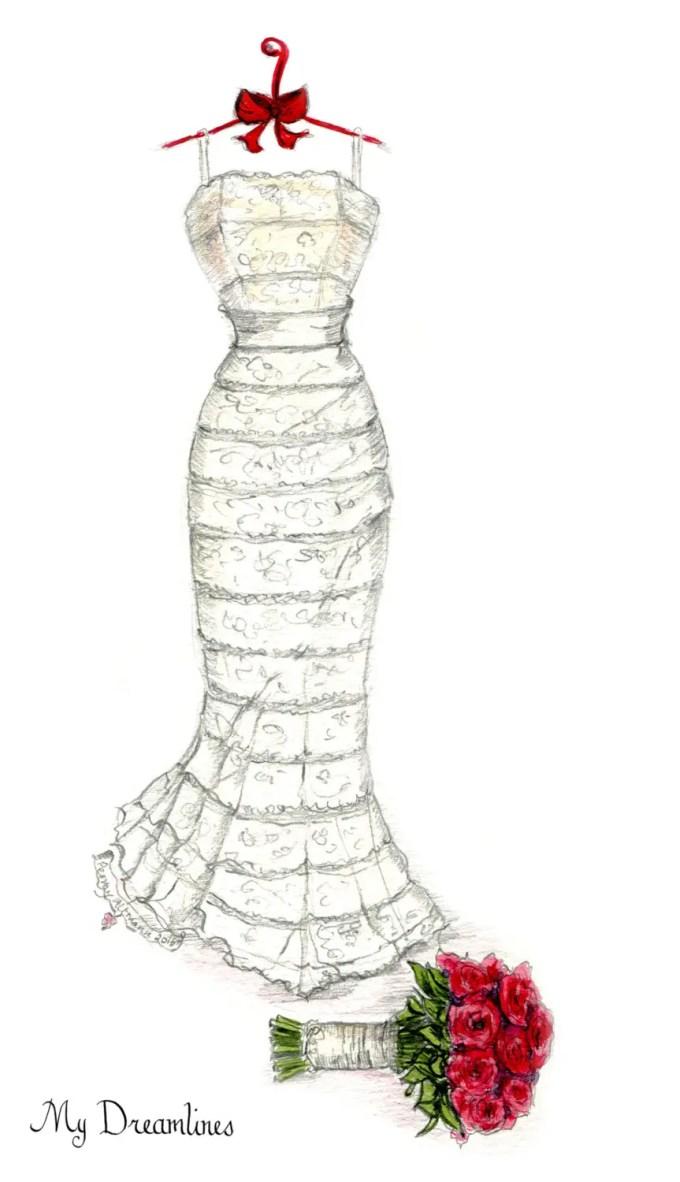 Wedding Dress Sketch Made of Your Bridal Gown | Emmaline Bride®