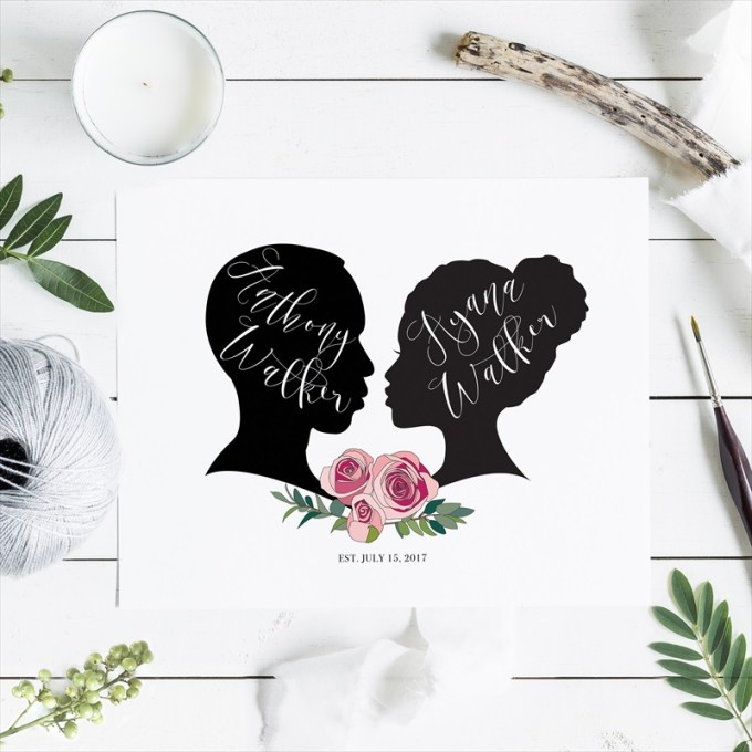 custom silhouette guest book print