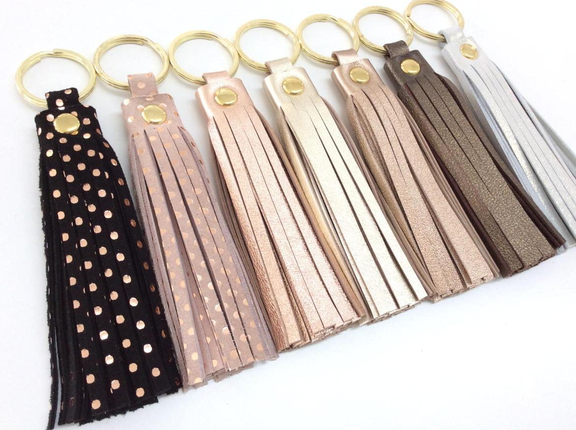 leather tassel keychains via http://etsy.me/2mRQX6m