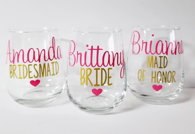 wedding wine glasses for your bridal crew emmaline bride