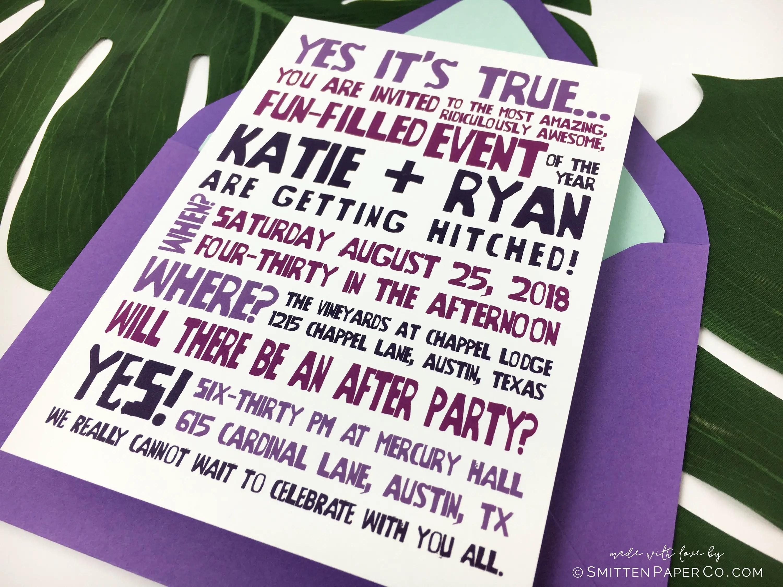75 Fun Unique Wedding Invitations for Cool Couples Emmaline Bride