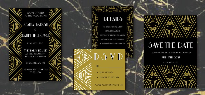 gatsby wedding invitation by words of love