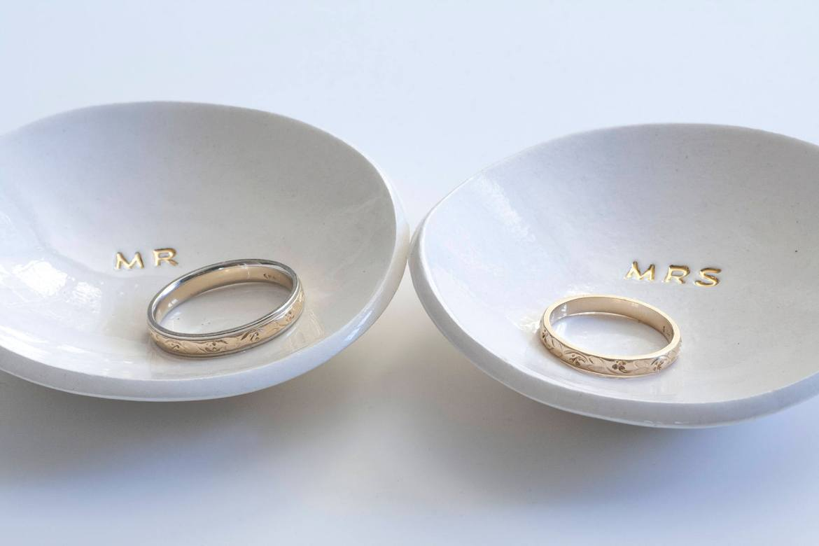 mr and mrs ring dish set