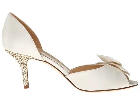 low wedding heels in ivory