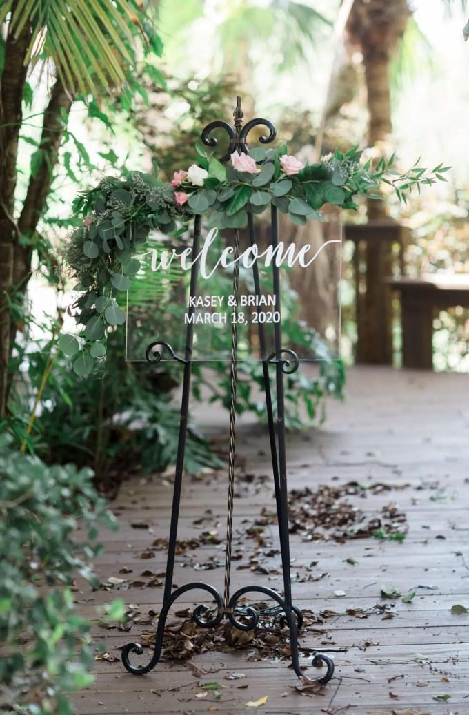 clear wedding sign