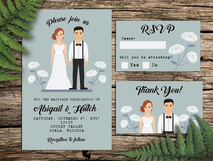 Illustrated Wedding Invitations: Beautiful Hand-Illustrated Wedding Invitations