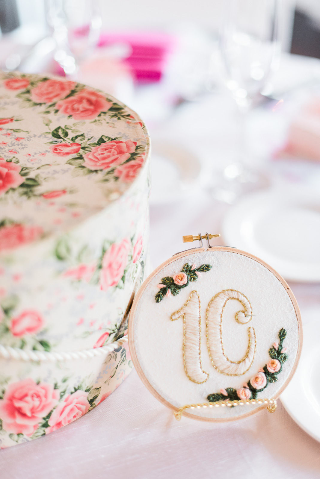 Fun + Creative Embroidery Hoop Table Numbers for Weddings