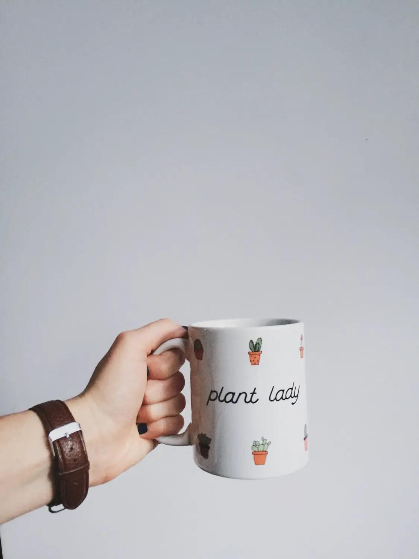 succulent cat lady mug