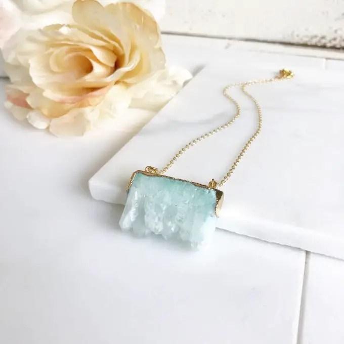 druzy stone necklace via https://etsy.me/2sHlxmr