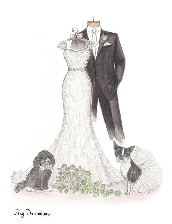 Wedding Dress Drawing Sketch Emmaline Bride