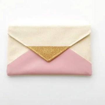 blush pink envelope clutch