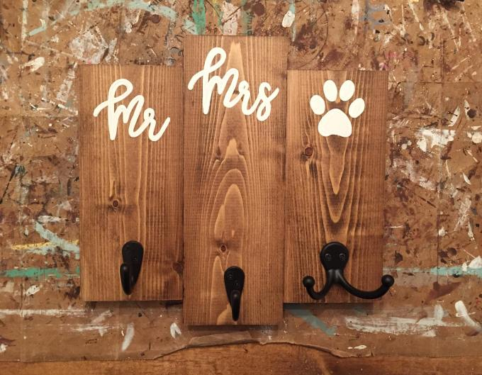 his, hers, and dog key hook