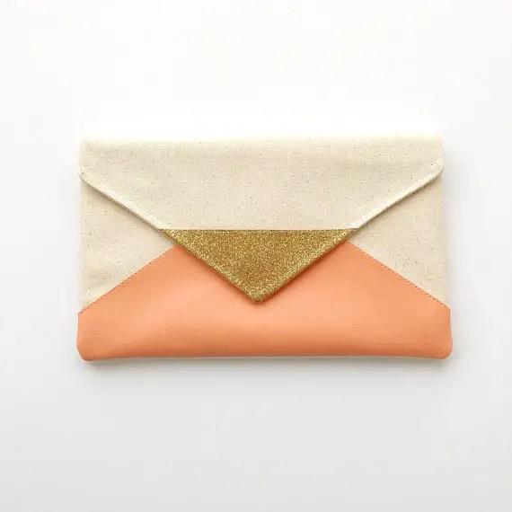 peach envelope clutch