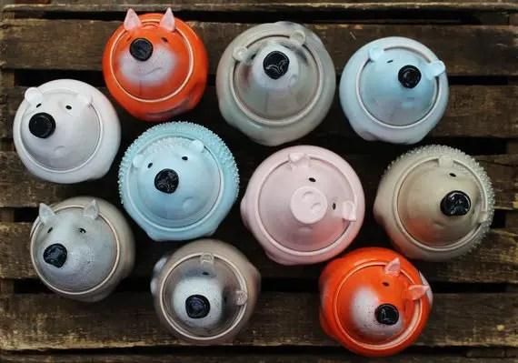 cute storage jars of animals