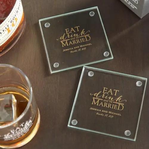 wedding favors ideas - glass wedding coasters via http://shrsl.com/153tx