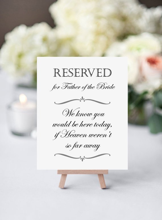 how to honor the bride's father at wedding - in memory of