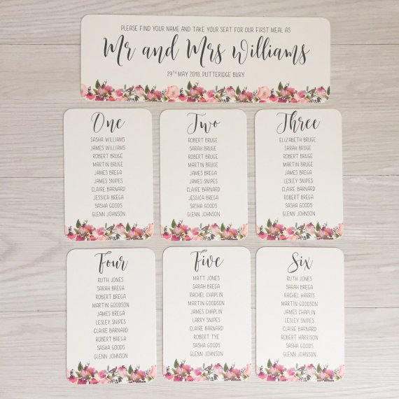 wedding seating plan cards