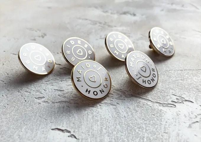 bridal party pins and bridesmaid pins