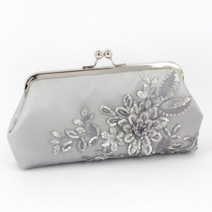 wedding purse in metallic grey clutch by angee w.