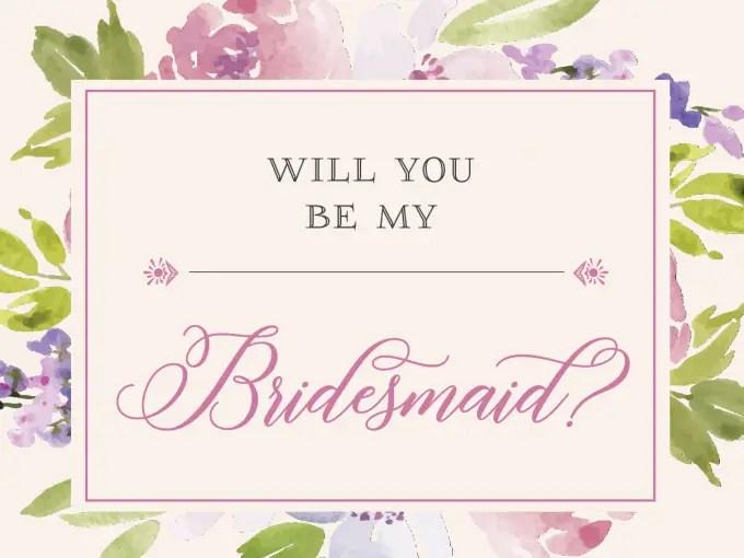 Free Be My Bridesmaid Cards