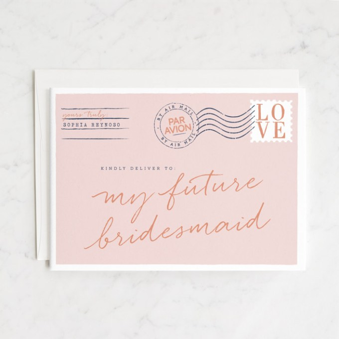 bridesmaid card by jennifer lew