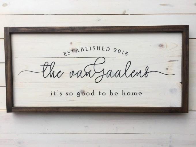 custom established family sign