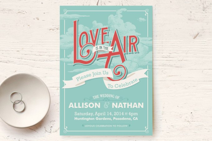 love is in the air wedding invitation