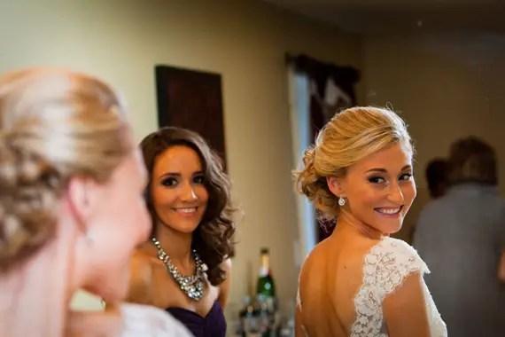Wedding of Caitlin & Ben at The Villa - east bridgewater wedding, bride looking in mirror