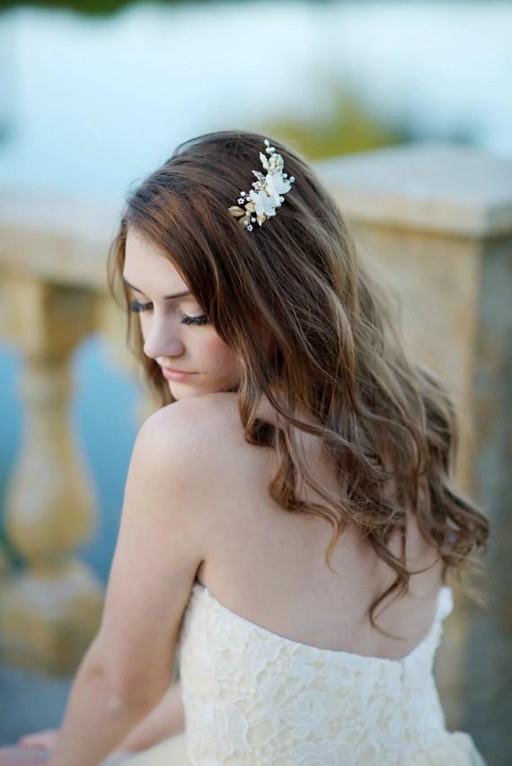 beautiful bridal hair clip   8 Alternative Wedding Veil Ideas from Tessa Kim