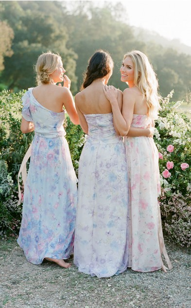 Pretty Floral Print Bridesmaid Dresses - Back View