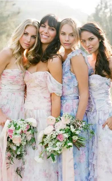 Floral Print Bridesmaid Dresses Collection