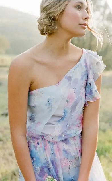 One Shoulder Style | Pretty Floral Print Bridesmaid Dresses