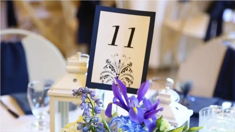 reception table number in Villa Chanticleer Wedding Film | Videographer: Baby Blue Film | via http://emmalinebride.com/real-weddings/villa-chanticleer-wedding-film-corey-anthony/