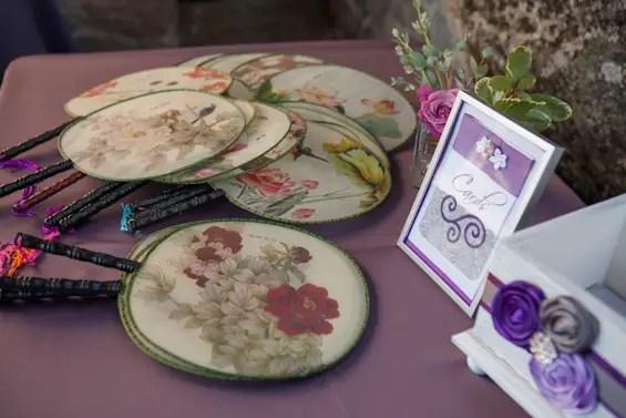 Johnstone Studios - thunderbird lodge wedding - Japanese paddle fans on the card table