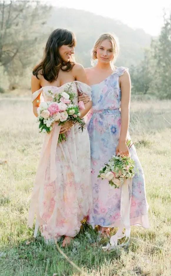 Pretty Long Floral Print Bridesmaid Dresses