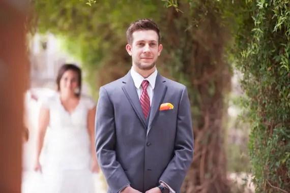 rustic chic DIY arizona wedding first look bride groom