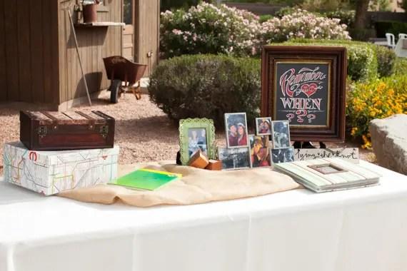 rustic chic DIY arizona wedding at Shenandoah Mill with wedding card table and photos