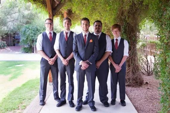 rustic chic DIY arizona wedding at Shenandoah Mill, groom with groomsmen