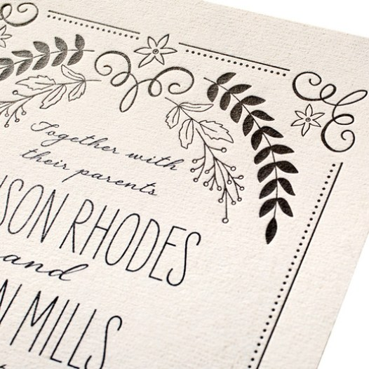Rustic Wreaths Wedding Invitations Letterpress