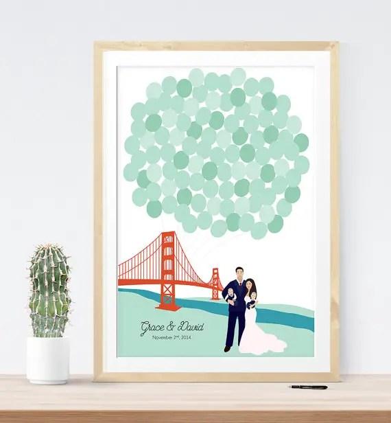 San Francisco Golden Gate Bridge Wedding Guest Book | 21 Unique Themed Guest Book Alternatives via http://emmalinebride.com/reception/themed-guest-book-alternatives/