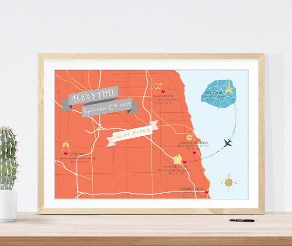 Guest Book Map Alternative That Shows Locations from Your Relationship Story | 21 Unique Themed Guest Book Alternatives via http://emmalinebride.com/reception/themed-guest-book-alternatives/