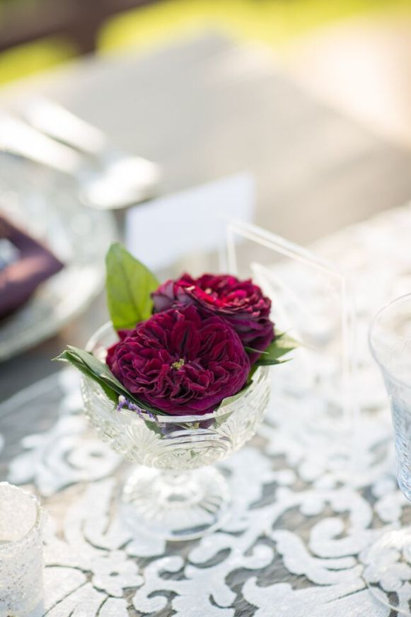 Winery Styled Wedding Shoot - Roses in Glassware