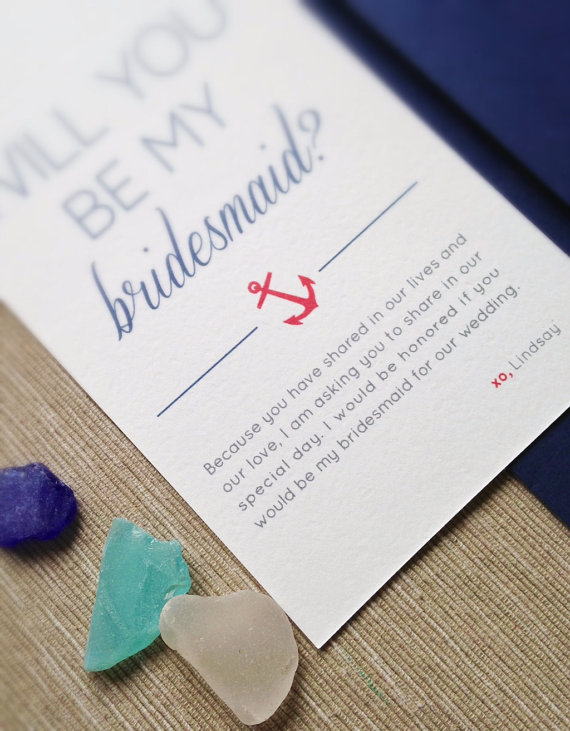 anchor and twine (be my bridesmaid card)