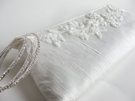 wedding wristlet - applique keep bag