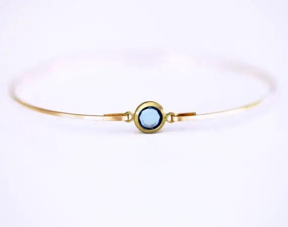 aquamarine bangle bracelet | via Best Aquamarine Jewelry Finds on Etsy - http://emmalinebride.com/bride/best-aquamarine-jewelry/